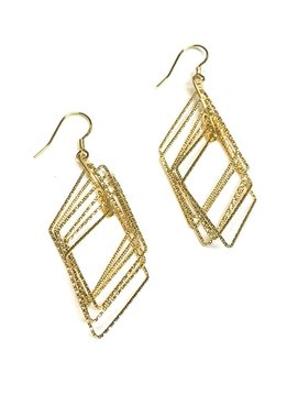 Italian Sterling Gold Diamond Shaped Motion Earrings