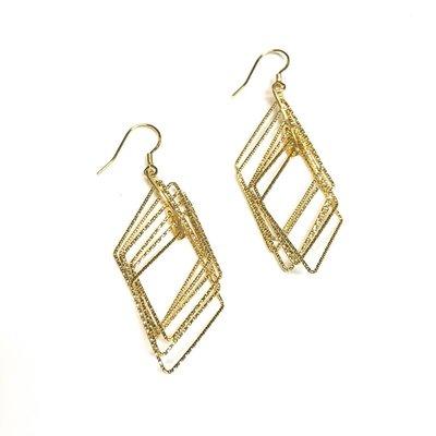 Sterling Gold Diamond Shaped Motion Earrings
