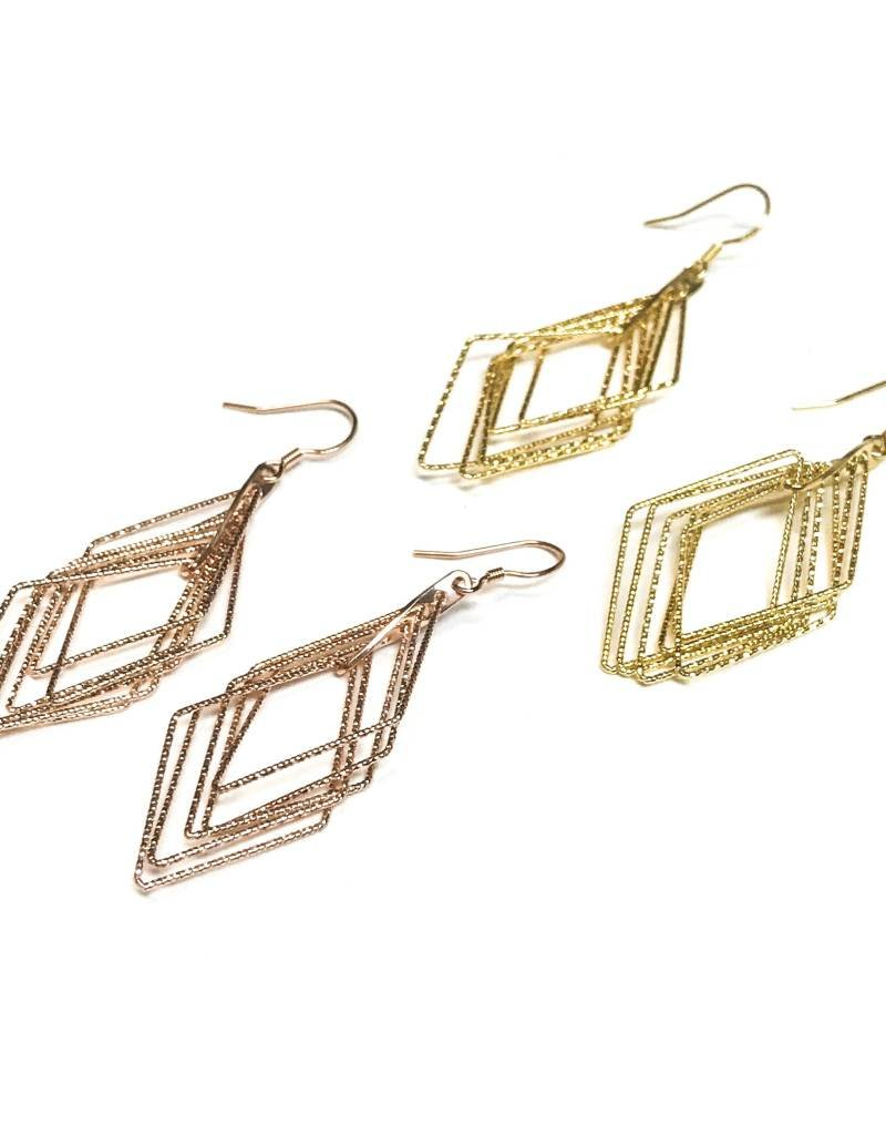 Qualita In Argento Italian Sterling Gold Diamond Shaped Motion Earrings