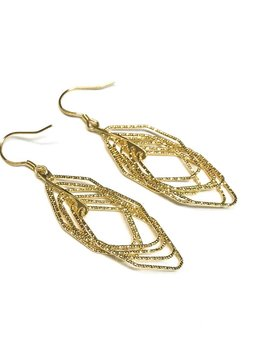 Italian Sterling Gold Motion Set Earrings