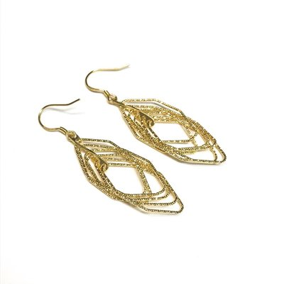 Qualita In Argento Italian Sterling Gold Motion Set Earrings
