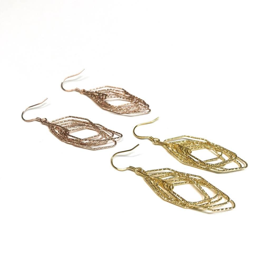 Italian Sterling Gold Motion Set Earrings