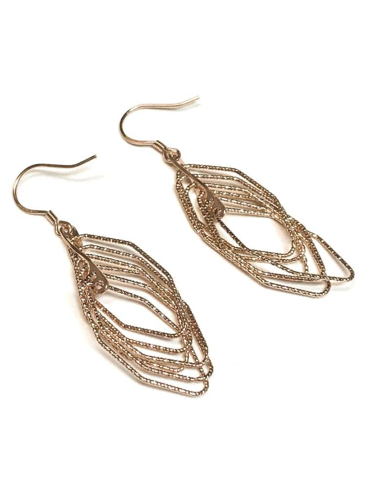Qualita In Argento Italian Sterling Rose Gold Motion Set Earrings