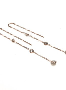 Italian Sterling Rose Gold Diamonds By the Yard Threaders