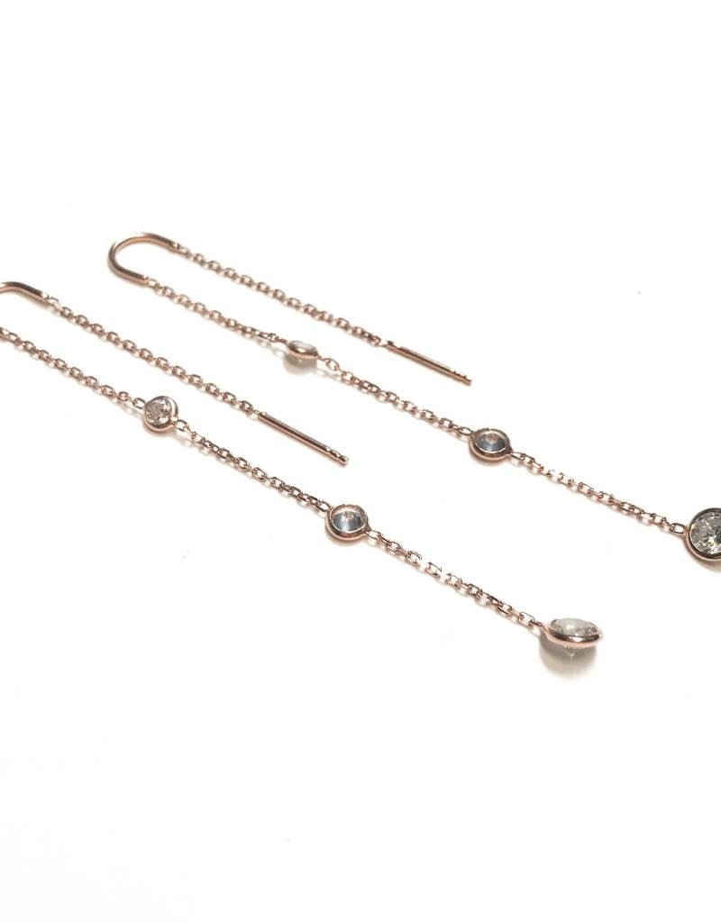 Qualita In Argento Italian Sterling Rose Gold Diamonds By the Yard Threaders