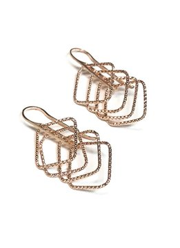 Italian Sterling Rose Gold Motion Set Earrings