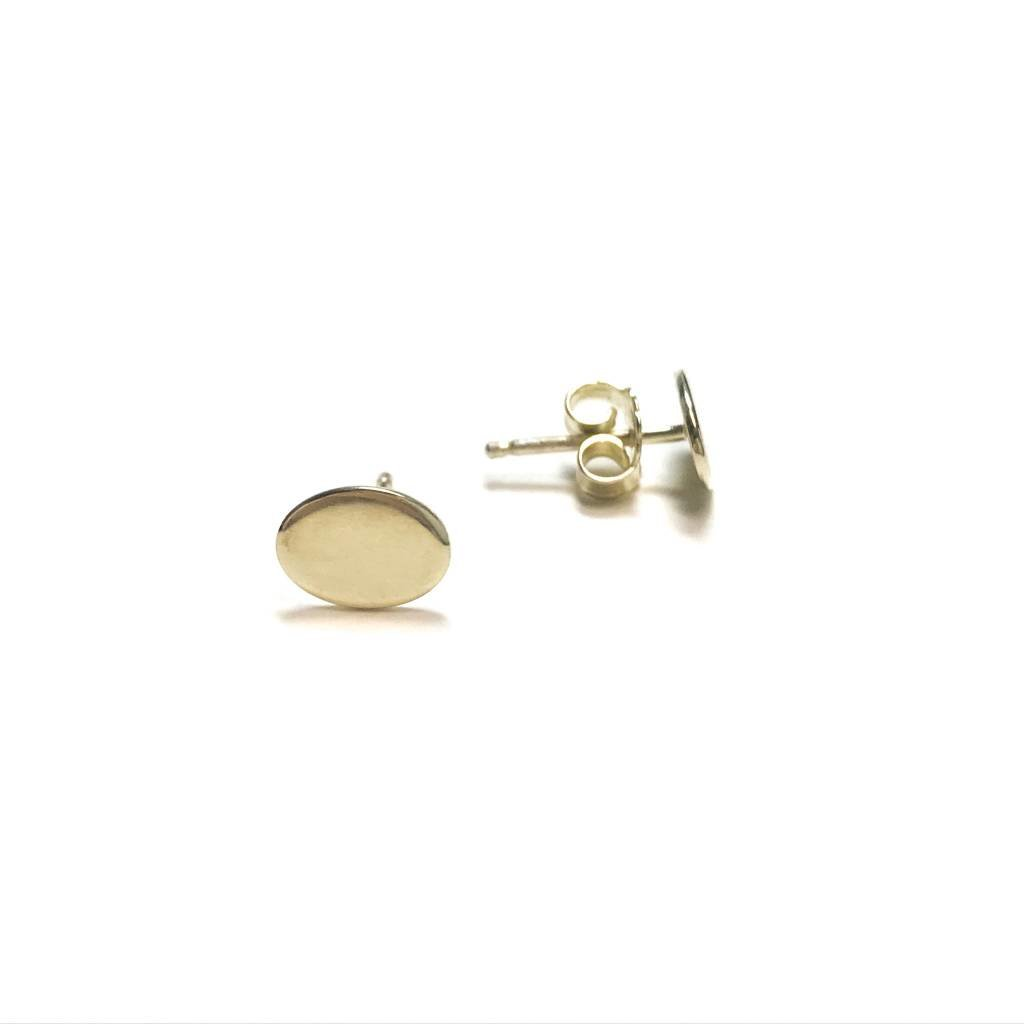 Qualita In Argento Italian Sterling Gold Oval Studs