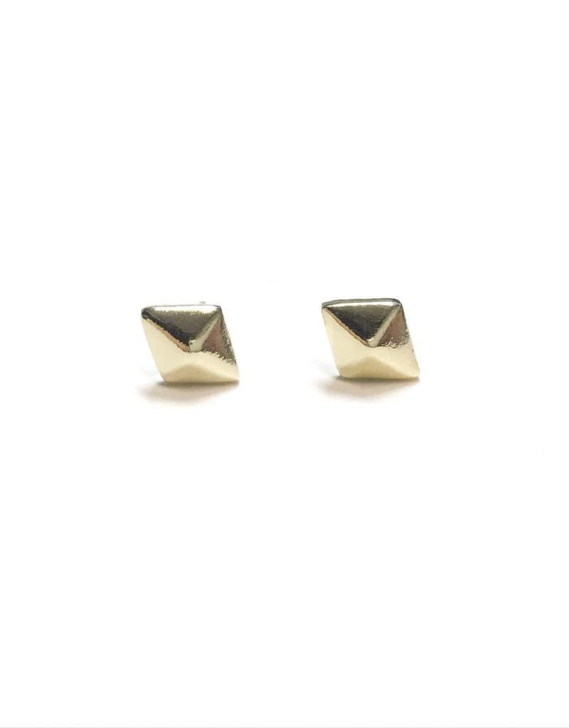 Qualita In Argento Italian Sterling Gold Define Diamond Shaped Studs