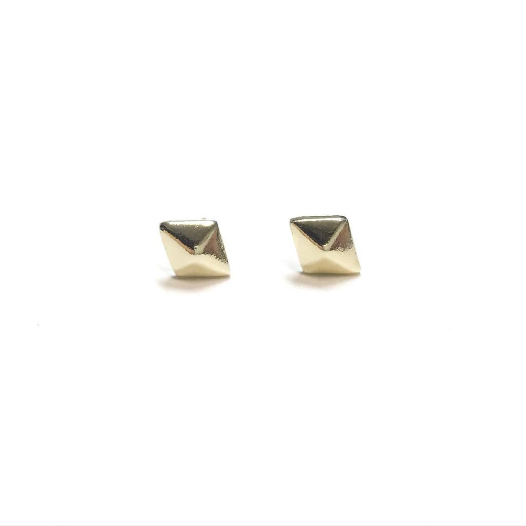 Italian Sterling Gold Define Diamond Shaped Studs