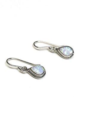 Qualita In Argento Sterling Silver White Opal Earrings
