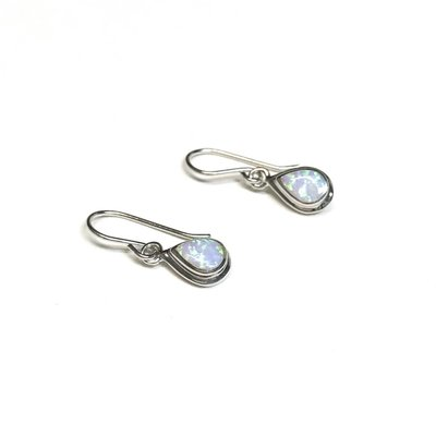 Qualita In Argento Italian Sterling Silver White Opal Earrings