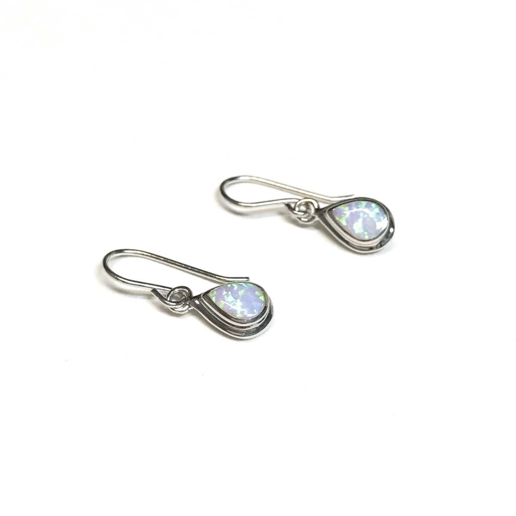Italian Sterling Silver White Opal Earrings