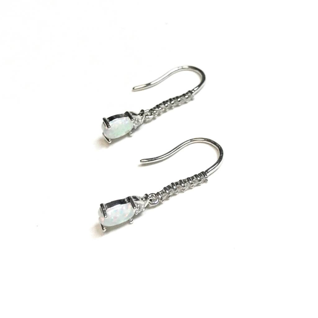 Italian Sterling Silver White Opal with CZ Earrings