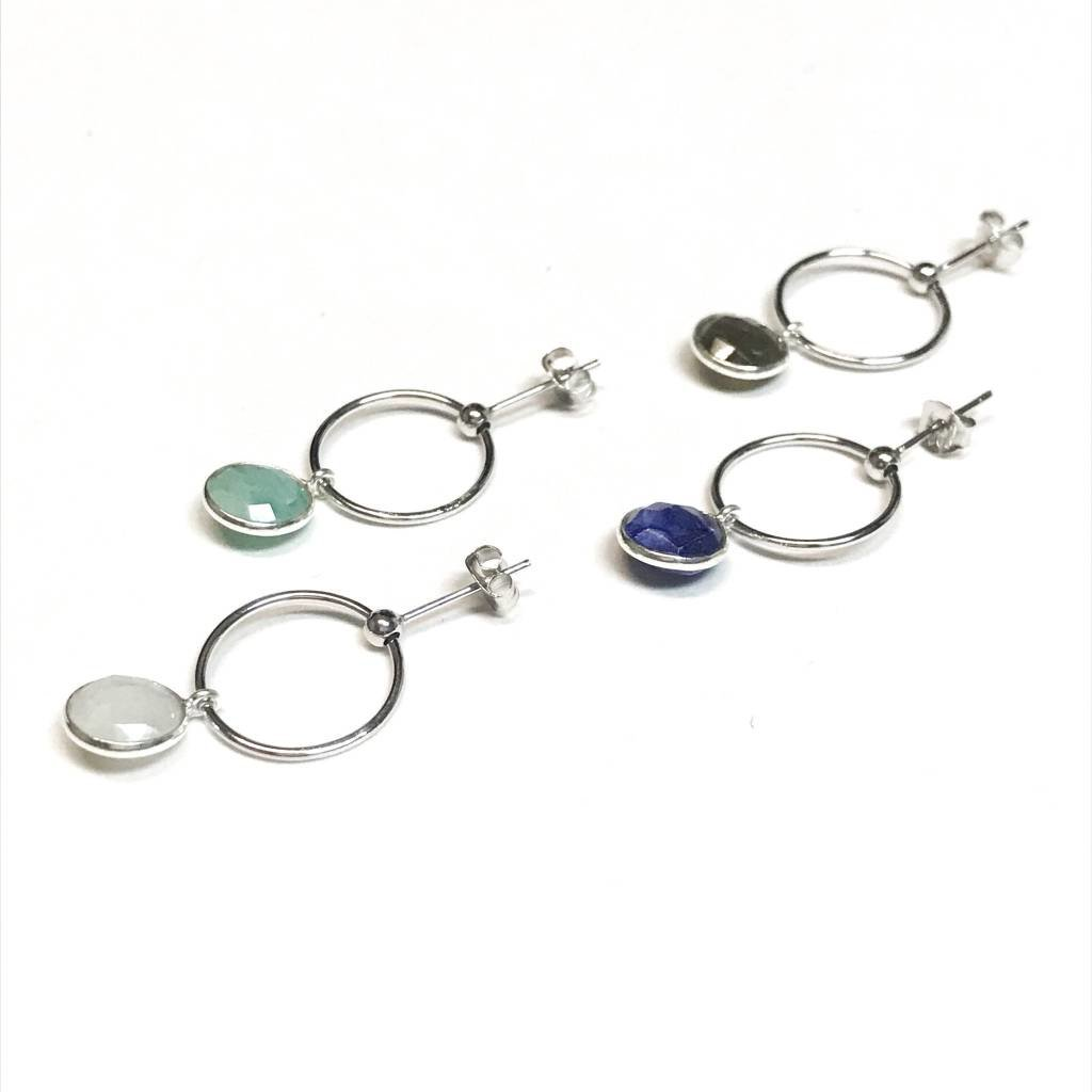 Qualita In Argento Italian Sterling Silver Moonstone Drop Hoops