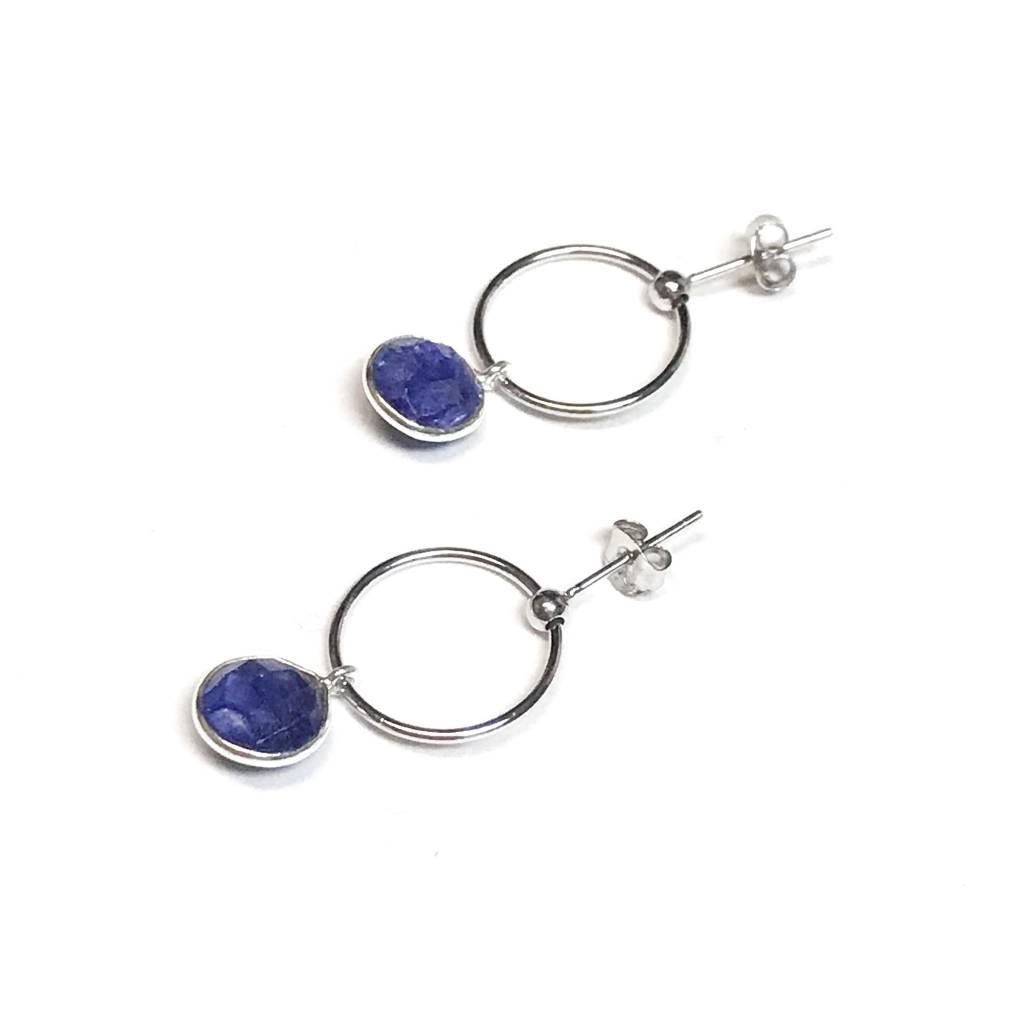 Italian Sterling Silver Lapis Lazuli Drop Hoops