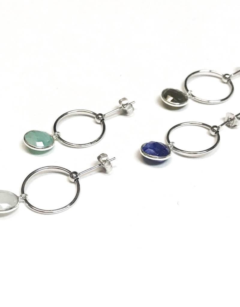Qualita In Argento Italian Sterling Silver Lapis Lazuli Drop Hoops