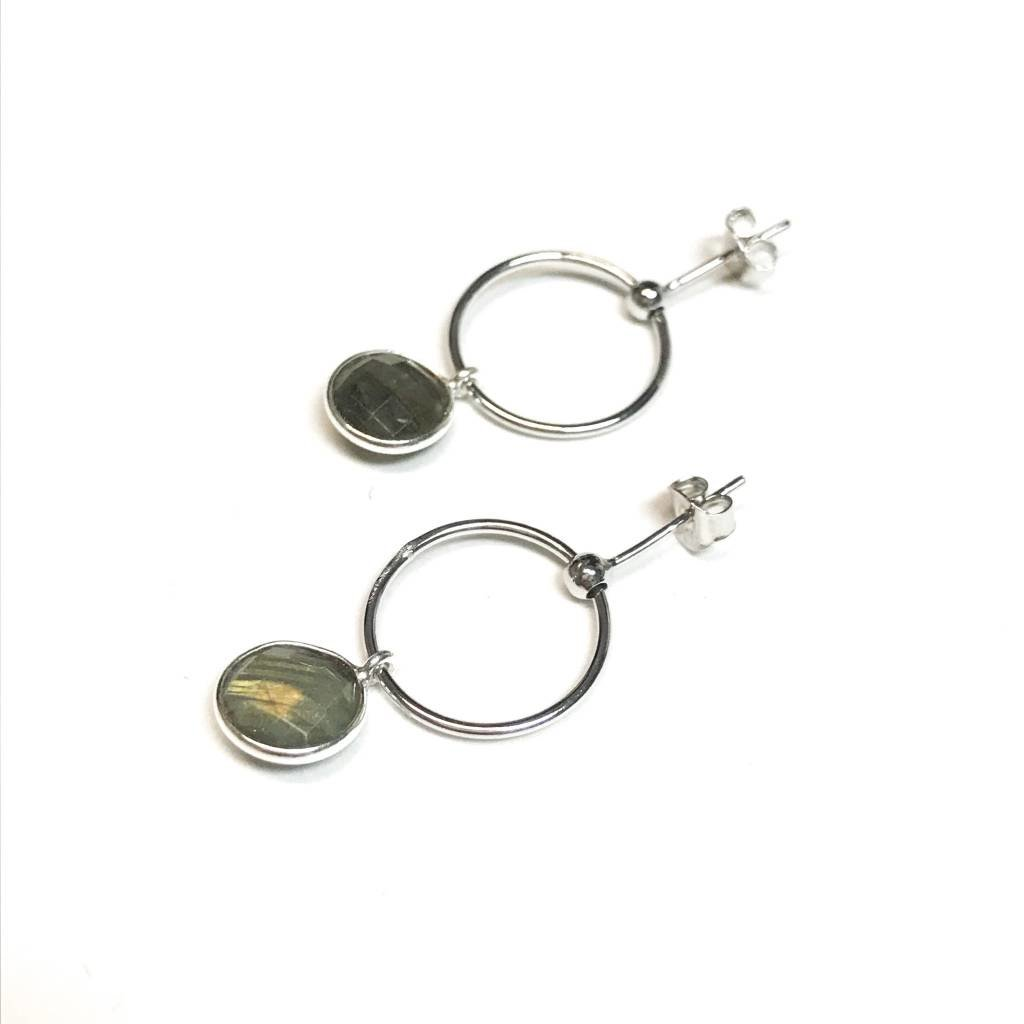 Qualita In Argento Italian Sterling Silver Labradorite Drop Hoops