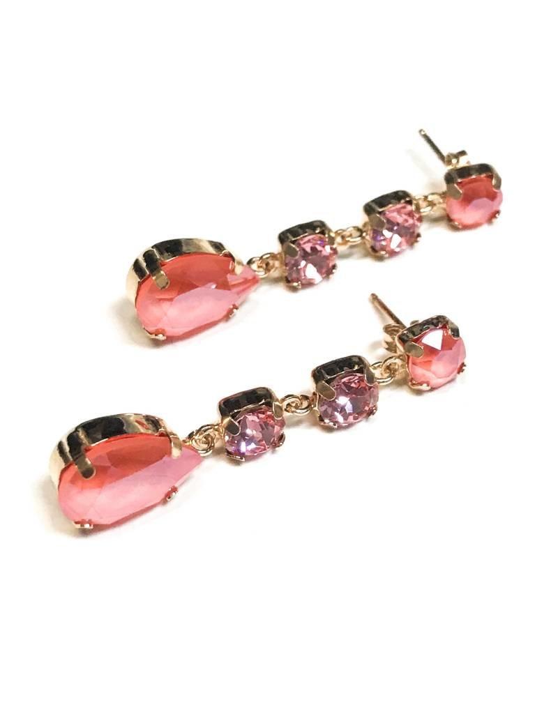 Qualita In Argento Italian Sterling Rose Gold Rose Swarovski Crystal Earrings