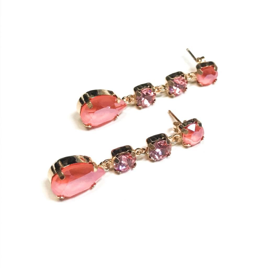 Italian Sterling Rose Gold Rose Swarovski Crystal Earrings