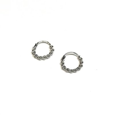 Qualita In Argento Italian Sterling Silver Chain Design Tiny Hoops