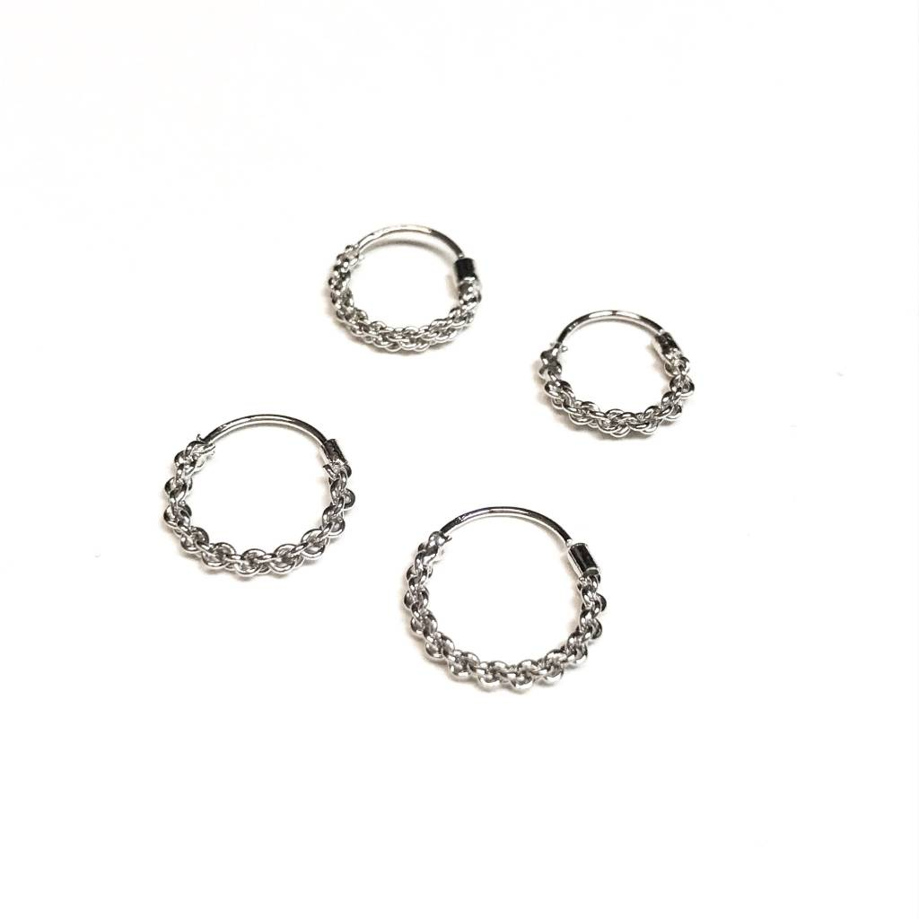 Italian Sterling Silver Chain Design Tiny Hoops