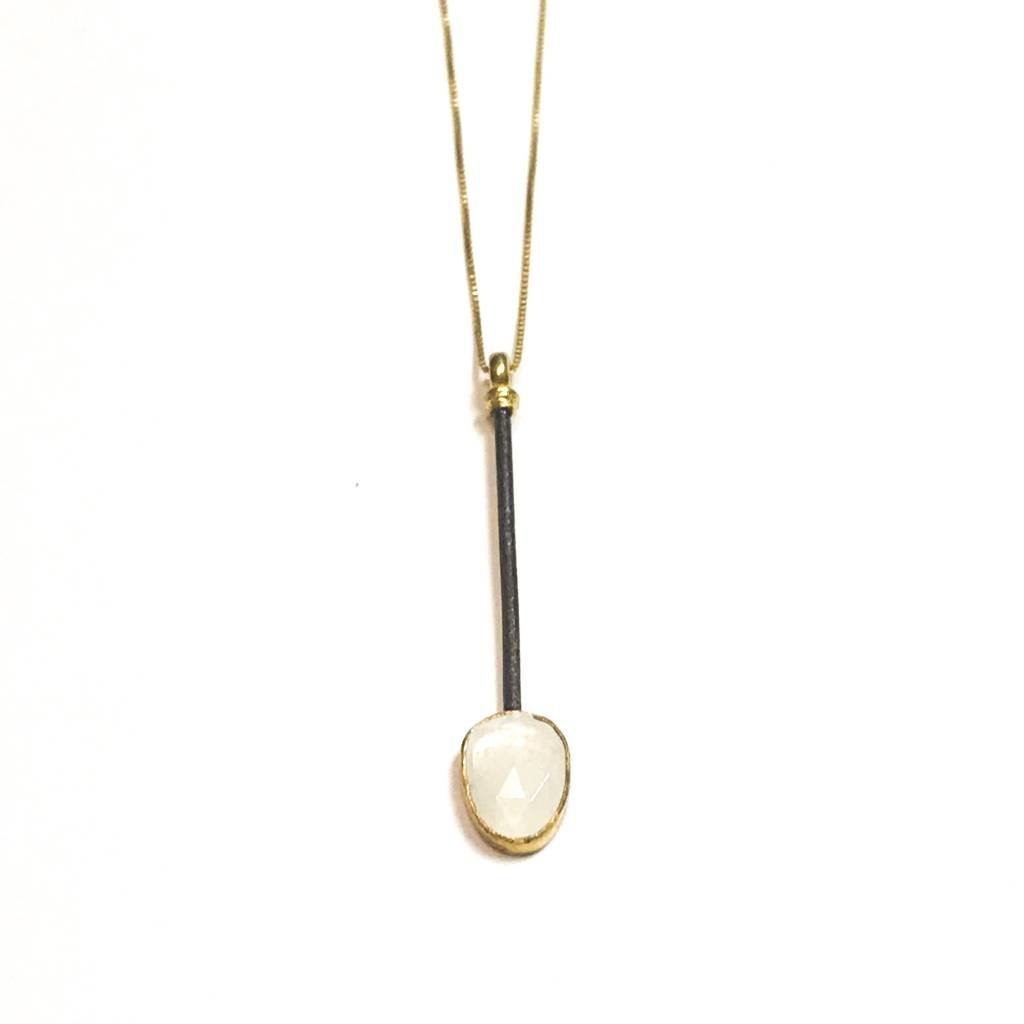 Qualita In Argento Italian Sterling Gold Plated Moonstone Drop Necklace