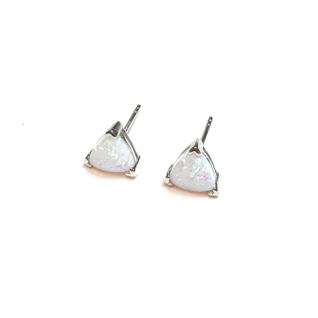 Qualita In Argento Italian Sterling White Opal Triangle Earrings