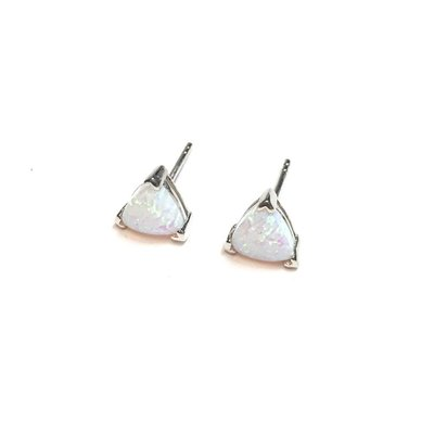 Qualita In Argento Italian Sterling White Opal Triangle Earrings