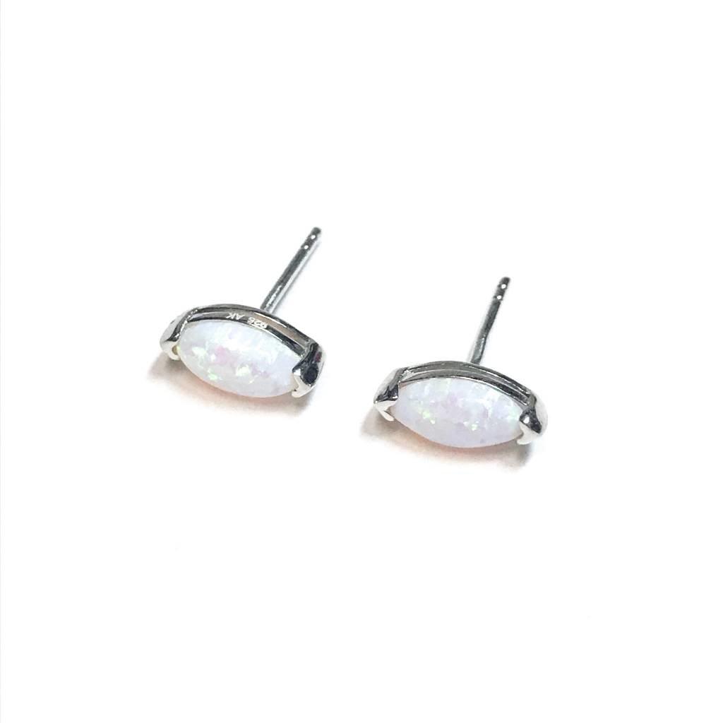 Qualita In Argento Italian Sterling White Opal Oval Earrings