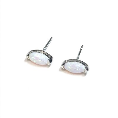 Qualita In Argento Italian Sterling White Opal Oval Earrings