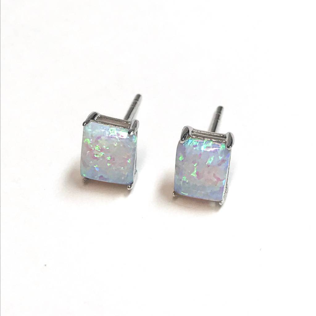 Italian Sterling White Opal Square Studs