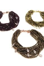 Sterling Rose Gold Siam Swarovski Multiple Strand Bracelet