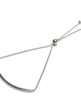 Italian Sterling Silver Rhodium Plated Tube Bead Bracelet