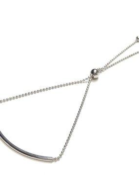 Italian Sterling Silver Rhodium Plated Tube Bead Bracelet