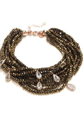 Qualita In Argento Sterling Rose Gold Crystal Dorado Swarovski Multiple Strand Bracelet