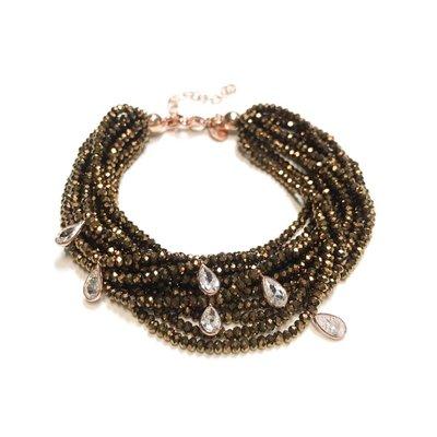 Qualita In Argento Italian Sterling Rose Gold Crystal Dorado Swarovski Multiple Strand Bracelet