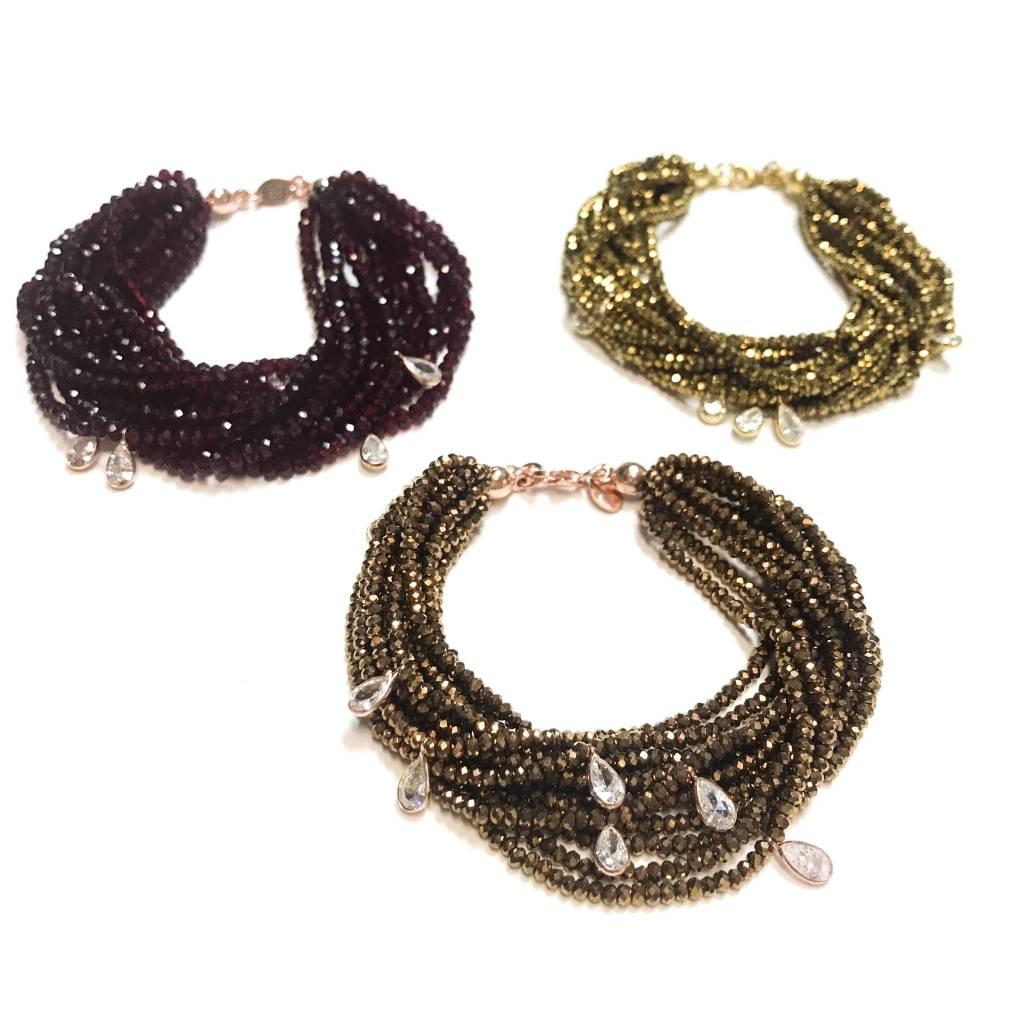 Italian Sterling Rose Gold Crystal Dorado Swarovski Multiple Strand Bracelet