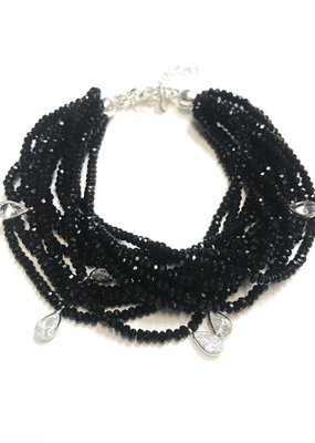 Qualita In Argento Sterling Jet Swarovski Multiple Strand Bracelet