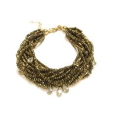 Qualita In Argento Italian Sterling Gold Metallic Light Gold Swarovski Multiple Strand Bracelet