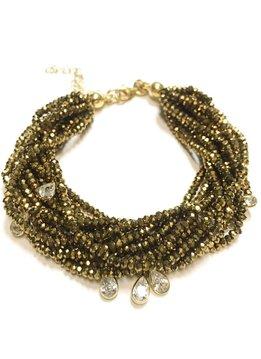 Italian Sterling Gold Metallic Light Gold Swarovski Multiple Strand Bracelet
