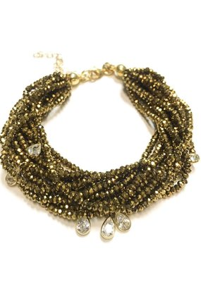 Qualita In Argento Sterling Gold Metallic Light Gold Swarovski Multiple Strand Bracelet