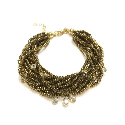 Qualita In Argento Italian Sterling Gold Metallic Light Gold Swarovski Multiple Strand Bracelet