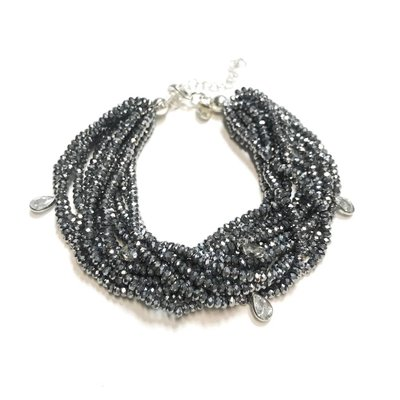 Qualita In Argento Italian Sterling Hematite Swarovski Multiple Strand Bracelet