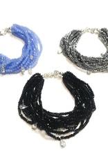 Sterling Hematite Swarovski Multiple Strand Bracelet