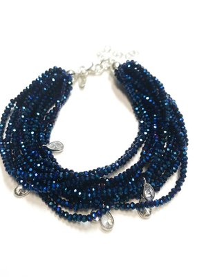 Qualita In Argento Sterling Meridian Blue Swarovski Multiple Strand Bracelet