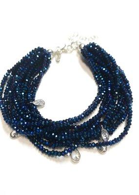 Sterling Meridian Blue Swarovski Multiple Strand Bracelet