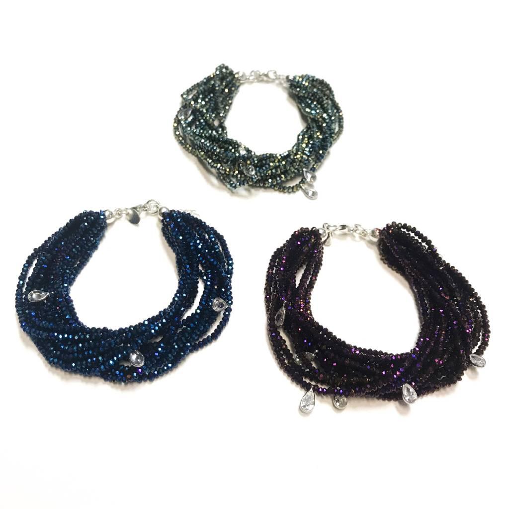 Italian Sterling Meridian Blue Swarovski Multiple Strand Bracelet