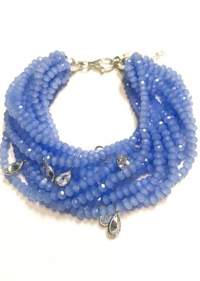 Qualita In Argento Sterling Tanzanite Swarovski Multiple Strand Bracelet