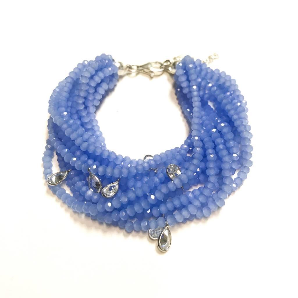 Italian Sterling Tanzanite Swarovski Multiple Strand Bracelet