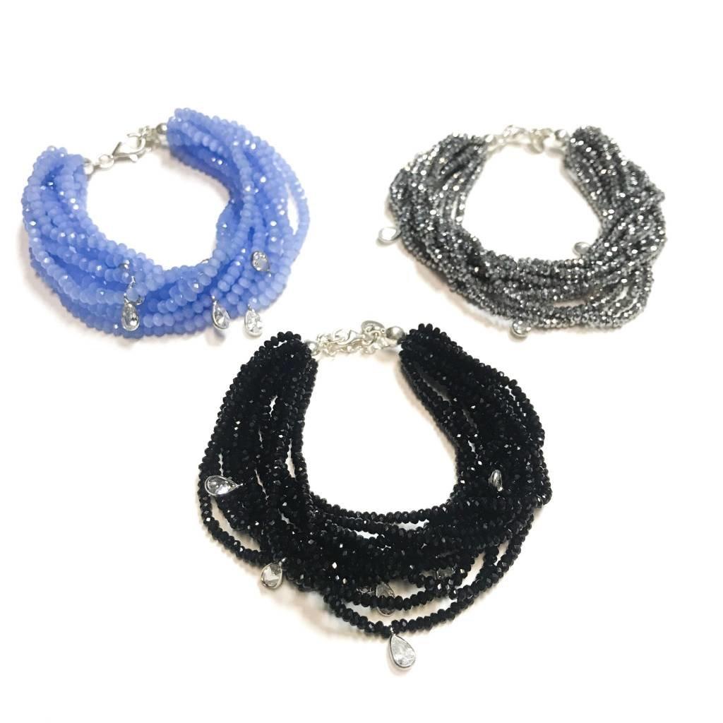 Qualita In Argento Italian Sterling Tanzanite Swarovski Multiple Strand Bracelet